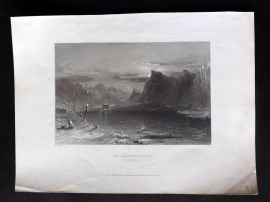 Bartlett Switzerland C1838 Antique Print. Mt. Bernard (By Moonlight)